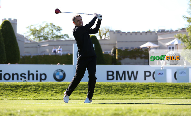 Phil Neville drives off the first during the Pro-Am ahead of the 2015 BMW PGA Championship over the West Course at Wentworth, Virginia Water, London. Picture David Lloyd, www.golffile.ie: 20/05/2015