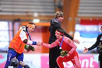 SCHAATSEN: ERFURT: Gunda Niemann-Stirnemann Halle, 02-03-2013, Essent ISU World Cup, Season 2012-2013, podium 1000m Men A, Stefan Groothuis (NED), Brian Hansen (USA), Dmitry Lobkov (RUS), ©foto Martin de Jong