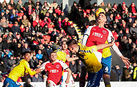 Fleetwood Town's Ched Evans competing in the air  <br /> <br /> Photographer Andrew Kearns/CameraSport<br /> <br /> The EFL Sky Bet League One - Fleetwood Town v Charlton Athletic - Saturday 2nd February 2019 - Highbury Stadium - Fleetwood<br /> <br /> World Copyright © 2019 CameraSport. All rights reserved. 43 Linden Ave. Countesthorpe. Leicester. England. LE8 5PG - Tel: +44 (0) 116 277 4147 - admin@camerasport.com - www.camerasport.com