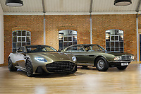 BNPS.co.uk (01202 558833)<br /> Pic: AstonMartin/BNPS<br /> <br /> The media launch of the Olive Green DBS Superleggera last year - pictured with the original 1969 Aston Martin DBS. <br /> <br /> Stunning Aston Martin 'James Bond' supercar with only 45 miles on the clock - yours for £300,000.<br /> <br /> A limited edition Aston Martin that was built to mark the 50th anniversary of one of the most popular James Bond movies has emerged for sale for around £300,000.<br /> <br /> The DBS Superleggera was one of just 50 created last year to commemorate five decades since the release of On Her Majesty's Secret Service.<br /> <br /> The movie, which came out in 1969, was the first in the franchise not to feature Sean Connery and instead starred George Lazenby as 007.