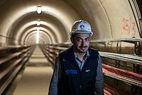 TURKEY, Mengen, Köprübaşı HEPP, hydro power station of Yueksel Holding / TUERKEI, Mengen, Köprübaşı HEPP, Wasserkraftwerk der Yueksel Holdung, Kabelkanal vom Turbinenhaus zur Trafo Station und Umspannwerk
