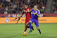Carson, CA - Sunday January 28, 2018: Tyler Adams, Darko Todorović during an international friendly between the men's national teams of the United States (USA) and Bosnia and Herzegovina (BIH) at the StubHub Center.