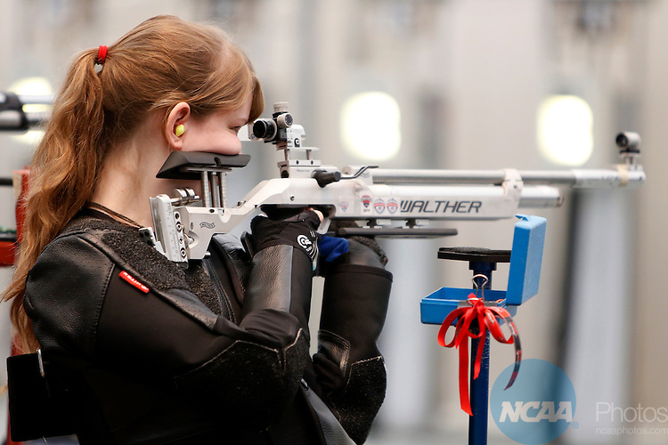 12 MAR 2016:  Caitlyn Ford, of North Carolina State University, shoots during the NCAA Division I Men's and Women's Rifle Championship held at the Stile Athletics Field House in Akron, OH.  Ford finished seventh in the competition with a score of 100.6.  Jay LaPrete/NCAA Photos