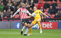 Preston North End's Ben Davies battles with Sheffield United's David McGoldrick<br /> <br /> Photographer Mick Walker/CameraSport<br /> <br /> The EFL Sky Bet Championship - Sheffield United v Preston North End - Saturday 22 September 2018 - Bramall Lane - Sheffield<br /> <br /> World Copyright © 2018 CameraSport. All rights reserved. 43 Linden Ave. Countesthorpe. Leicester. England. LE8 5PG - Tel: +44 (0) 116 277 4147 - admin@camerasport.com - www.camerasport.com