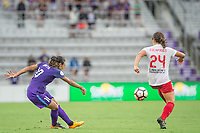 Orlando, FL - Saturday July 01, 2017: Marta, Danielle Colaprico during a regular season National Women's Soccer League (NWSL) match between the Orlando Pride and the Chicago Red Stars at Orlando City Stadium.