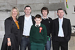 Scoile Aonghusa Confirmation in St Peters Church..Ciaran Cassidy Parents Linda and Damien and Brothers mark and Conor..Photo: Fran Caffrey/www.newsfile.ie...