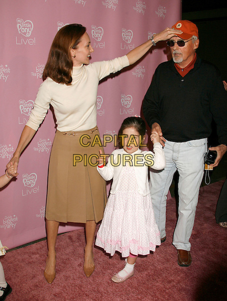 "VICTORIA DUFFY, DENNIS HOPPER, GALEN (DAUGHTER).""My Little Pony Live!"" Los Angeles Premiere held at the Kodak Theater, Hollywood, California, USA..March 14th, 2007.full length black top white mother father family white dress married husband wife baseball cap hat sunglasses shades .CAP/ADM/RE.©Russ Elliot/AdMedia/Capital Pictures"
