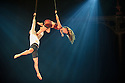 "London, UK. 14.04.2015. Circolombia presents ""Acelere"" at the Roundhouse. Picture shows: Aerialists Soledad Gomez Acevedo and Oscar Mauricio Rojas Guasca, on straps. Photograph © Jane Hobson."