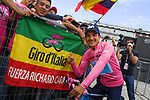 Race leader Richard Carapaz (ECU) Movistar Team extends his lead and retains the Maglia Rosa at the end of Stage 15 of the 2019 Giro d'Italia, running 232km from Ivrea to Como, Italy. 26th May 2019<br /> Picture: Gian Mattia D'Alberto/LaPresse | Cyclefile<br /> <br /> All photos usage must carry mandatory copyright credit (© Cyclefile | Gian Mattia D'Alberto/LaPresse)