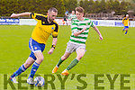 In Action CG's Ger Foley and Celtic's Joe Joe Grimes at the Denny Division 1B League Final Listowel Celtic against CG Killarney at Mounthawk park on Sunday