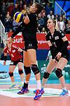 03.12.2017, Halle Berg Fidel, Muenster<br />Volleyball, Bundesliga Frauen, Normalrunde, USC MŸnster / Muenster vs. Rote Raben Vilsbiburg<br /><br />Annahme Lena Stigrot (#14 Vilsbiburg)<br /><br />  Foto &copy; nordphoto / Kurth