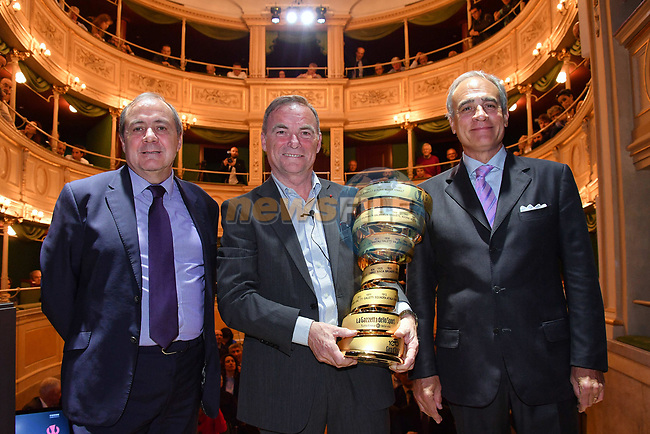 Bernard Hinault pictured with Andrea Monti, La Gazzetta dello Sport Director and Mauro Vegni, Giro d'Italia Director, is inducted into the Giro d'Italia Hall of Fame 2017. The French champion receives his entry with his three successes in 1980, 1982 and 1985. Teatro Gerolamo, Milan, Italy. 28th March 2017.<br /> Picture: RCS Media | Cyclefile<br /> <br /> <br /> All photos usage must carry mandatory copyright credit (© Cyclefile | RCS Media)
