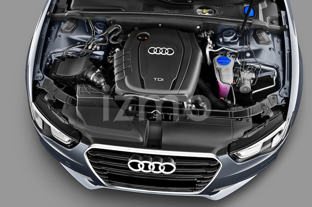 High angle engine detail of a 2012 Audi A5 S Line Coupe .