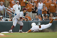 Texas Longhorn outfielder Mark Payton #15 slides into third base against the Arizona State Sun Devils  in NCAA Tournament Super Regional Game #3 on June 12, 2011 at Disch Falk Field in Austin, Texas. (Photo by Andrew Woolley / Four Seam Images)