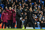 3rd December 2017, Etihad Stadium, Manchester, England; EPL Premier League football, Manchester City versus West Ham United; Pep Guardiola manager of Manchester City  if furious with the referee Mike Dean as he won't allow him to make a last minute substitution