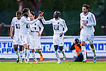 Uppsala 2014-05-07 Fotboll Superettan IK Sirius - &Ouml;stersunds FK :  <br />  &Ouml;stersunds Modou Barrow har kvitterat till 1-1 och gratuleras av lagkamrater<br /> (Foto: Kenta J&ouml;nsson) Nyckelord:  Superettan Sirius IKS &Ouml;stersund &Ouml;FK jubel gl&auml;dje lycka glad happy
