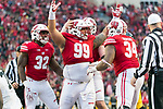 Wisconsin Badgers defensive lineman Olive Sagapolu (99) celebrates a quarterback sack during an NCAA College Big Ten Conference football game against the Iowa Hawkeyes Saturday, November 11, 2017, in Madison, Wis. The Badgers won 38-14. (Photo by David Stluka)
