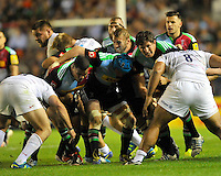 Twickenham, England. Quins push forward during the Aviva Premiership match between Harlequins and Saracens at Twickenham Stoop on September 12, 2014 in London, England.