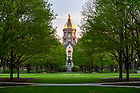 May 4, 2020;  The Main Building just after sunrise, spring, 2020. (Photo by Barbara Johnston/University of Notre Dame)