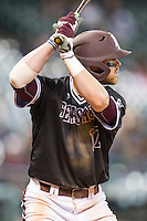 Texas A&M Aggies designated hitter Logan Taylor (17) at bat during the Houston College Classic against the Baylor Bears on March 8, 2015 at Minute Maid Park in Houston, Texas. Texas A&M defeated Baylor 3-2. (Andrew Woolley/Four Seam Images)