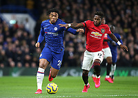 Reece James of Chelsea tries to shake off a challenge from Manchester United's Fred during Chelsea vs Manchester United, Premier League Football at Stamford Bridge on 17th February 2020