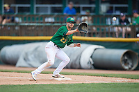 Beloit Snappers first baseman Jack Meggs (23) waits to receive a throw during a game against the Dayton Dragons on July 22, 2018 at Pohlman Field in Beloit, Wisconsin.  Dayton defeated Beloit 2-1.  (Mike Janes/Four Seam Images)