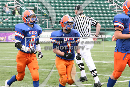 Attica Blue Devils varsity football against the Holley Hawks during the Section V Class-C semifinals at Marina Auto Stadium on November 1, 2009 in Rochester, New York.  Attica defeated Holley 40-6.  (Copyright Mike Janes Photography)