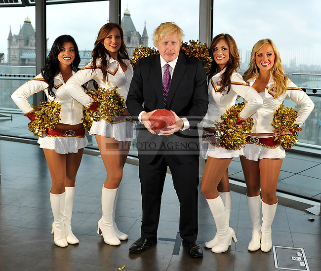 San Francisco 49ers Goldrush Cheerleaders meet the Mayor of London, Boris Johnson at City Hall to promote the game between the Denver Broncos and the San Francisco 49ers to be played at Wembley Stadium on 31/10/10.26/10/10,.photo: Sean Ryan /NFLuk.mobile: 07971 400 939.Address: 11 Botley Road, Park Gate, Southampton.Hants S031 1AH UK. tel +44 (0)1489 579109..