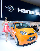 China's Haima automaker's new car Me is unveiled during Shanghai Motor Show, in Shanghai, China, on April 20, 2009. Shanghai auto show opened Monday for the press and will be open April 24-28 for the public. China is the only major auto market still growing despite the global economic slowdown. U.S. and global auto makers see China as the place where they can find the sales they desperately lack in their home market. Chinese automakers see the opportunity to assess themselves as major players in the world market. Photo by Lucas Schifres/Pictobank