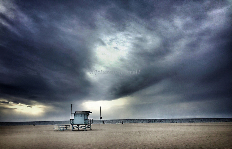 Santa Monica Beach life guard tower on a stormy day in California November 15, 2015 ©Fitzroy Barrett