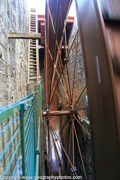 Water wheel at National slate museum, Llanberis, Gwynedd, Snowdonia, north Wales, UK