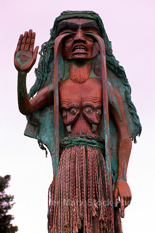 'Weeping Cedar Woman' Sculpture (Artist: Godfrey Stephens - carved in 1984 to protest  Logging on Meares Island and Clayoquot Sound near Tofino) on Vancouver Island, BC,  British Columbia, Canada (No Property Release Available)