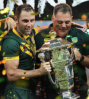 Australia's captain Cameron Smith, left and coach Mal Maninga after winning the Rugby League World Cup final between Australia and England, Suncorp Stadium, Brisbane, Australia, 2 December 2017. Copyright Image: Tertius Pickard / www.photosport.nz MANDATORY CREDIT/BYLINE : Tertius Pickard/SWpix.com/PhotosportNZ