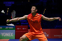 13th March 2020, Arena Birmingham, Birmingham, UK;  Chinas Chen Long returns a shot during the mens singles quarterfinal match with Malaysias Lee Zii Jia at the All England Open Badminton Championships in Birminghamnd