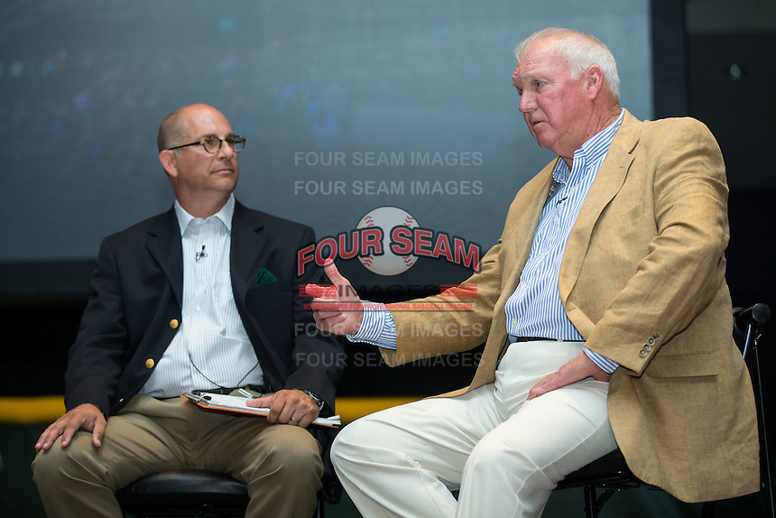 Charlie Manuel talks with Matt Swierad, radio voice of the Charlotte Knights, at the Triple-A All-Star Game Luncheon at the Charlotte Convention Center on July 12, 2016 in Charlotte, North Carolina.  Manuel was inducted into the Charlotte Baseball Roundtable of Honor along with his former Charlotte Knights player, Jim Thome (not pictured).   (Brian Westerholt/Four Seam Images)