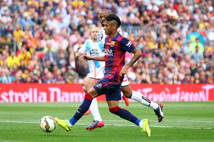 League BBVA 2014/2015. Game: 38.<br /> FC Barcelona vs Deportivo: 2-2.<br /> Sidnei vs Neymar.