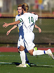 (Worcester, Ma 111613) After assisting with the goal, Sutton 19, Riley Steele, celebrates with 27, Cole Acocelli,who scored  his second goal of the game, making it 3-0 at the time,  as Sutton High School beat Cohasset Middle High 4-0 during the MIAA State Boys Division Four Final, Saturday, November 16, 2013, at Foley Stadium in Worcester. (Jim Michaud Photo) For Sunday