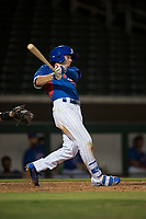 AZL Cubs 2 center fielder Cole Roederer (34) follows through on his swing during an Arizona League game against the AZL Rangers at Sloan Park on July 7, 2018 in Mesa, Arizona. AZL Rangers defeated AZL Cubs 2 11-2. (Zachary Lucy/Four Seam Images)