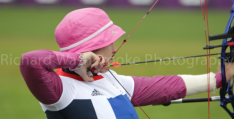Paralympics London 2012 - ParalympicsGB - Archery Womens Individual Compound Open  30th August 2012.  .Danielle Brown competing in the Womens Archery Individual Compound - Open Heats at the Paralympic Games in London. Photo: Richard Washbrooke/ParalympicsGB
