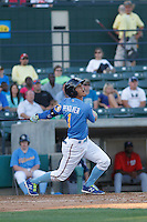 Myrtle Beach Pelicans shortstop Carlos Penalver (1) at bat during a game against the Potomac Nationals at Ticketreturn.com Field at Pelicans Ballpark on May 23, 2015 in Myrtle Beach, South Carolina.  Myrtle Beach defeated Potomac 7-3. (Robert Gurganus/Four Seam Images)