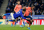 Ayoze Perez of Leicester City is challenged by Djibril Sidibe of Everton during the Premier League match at the King Power Stadium, Leicester. Picture date: 1st December 2019. Picture credit should read: Darren Staples/Sportimage