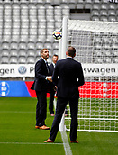 1st October 2017, St James Park, Newcastle upon Tyne, England; EPL Premier League football, Newcastle United versus Liverpool; Referee Mr Craig Pawson testing the Hawk Eye goal line technology before the game