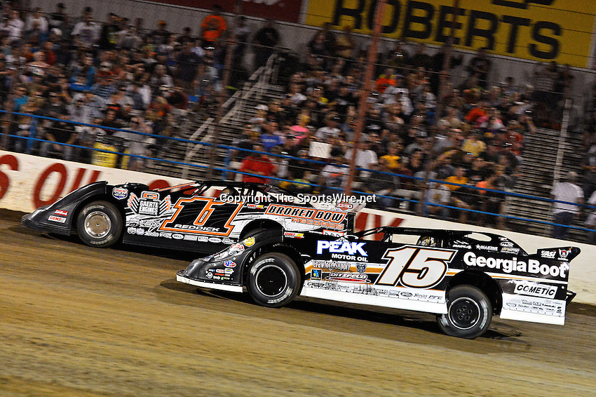 May 25, 2013; 10:11:20 PM; Wheatland, Mo., USA; The  Lucas Oil Late Model Dirt Series running the 21st Annual Lucas Oil Show-Me 100 Presented by ProtectTheHarvest.com.  Mandatory Credit: (thesportswire.net)