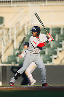 Luis Alejandro Basabe (5) of the Greenville Drive at bat against the Kannapolis Intimidators at Intimidators Stadium on June 7, 2016 in Kannapolis, North Carolina.  The Drive defeated the Intimidators 5-2 in game two of a double header.  (Brian Westerholt/Four Seam Images)