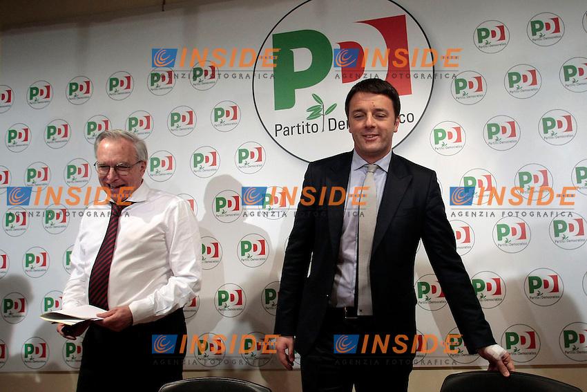 Guglielmo Epifani e Matteo Renzi<br /> Roma 08/12/2013 Sede del PD. Conferenza stampa di Matteo Renzi nuovo segretario del Partito Democratico.<br /> Press conference of the new secretary of Democratic Party.<br /> Photo Samantha Zucchi Insidefoto