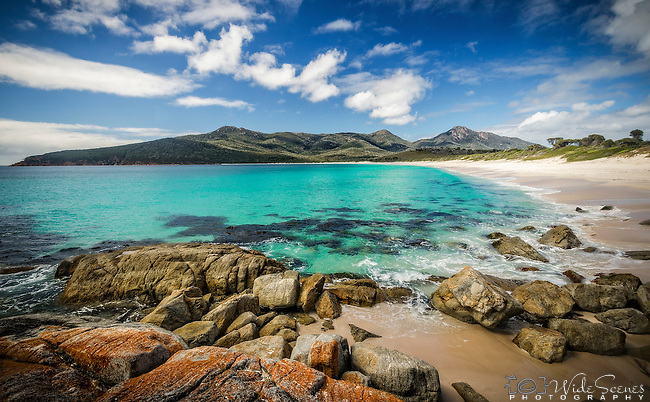 The famous Wineglass Bay beach in the Freycinet National Park on the east coast of Tasmania in Australia. This beach is better known when view from the lookout and is considered to be one of the world's top 10 beaches.