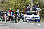 The breakaway in action during La Fleche Wallonne 2018 running 198.5km from Seraing to Huy, Belgium. 18/04/2018.<br /> Picture: ASO/Karen Edwards | Cyclefile <br /> <br /> All photos usage must carry mandatory copyright credit (&copy; Cyclefile | ASO/Karen Edwards)