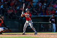 Gonzaga Bulldogs shortstop Josh Bristyan (3) at bat during a game against the Oregon State Beavers on February 16, 2019 at Surprise Stadium in Surprise, Arizona. Oregon State defeated Gonzaga 9-3. (Zachary Lucy/Four Seam Images)