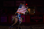 Flag girl during first round of the Fort Worth Stockyards Pro Rodeo event in Fort Worth, TX - 8.10.2019 Photo by Christopher Thompson