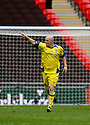 Lee McEvilly of Barrow celebrates scoring their equaliser during the FA Trophy Final between Barrow and Stevenage Borough at Wembley Stadium, London on 8th May,2010..© Kevin Coleman 2010.